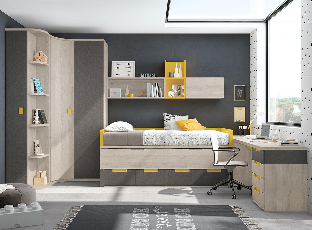 Dormitorios juveniles formas19 camas compactas f013 for Camas compactas juveniles